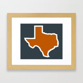 Texas Outline in Burnt Orange, Longhorns Framed Art Print