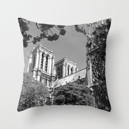 Notre Dame in Spingtime Throw Pillow