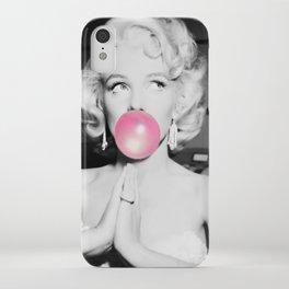 Bubble Gum Marilyn pop art portrait black and white photography - black and white photographs iPhone Case