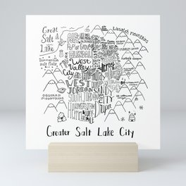 Salt Lake City Illustrated Map Mini Art Print