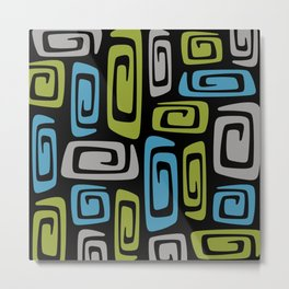 Mid Century Modern Cosmic Abstract 738 Black Green Blue and Gray Metal Print