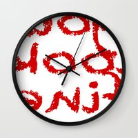 reassurance Wall Clocks featuring You look fine by Beatrice Stark