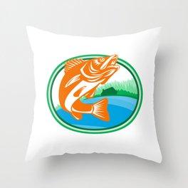 Walleye Fish Lake Cabin Oval Retro Throw Pillow
