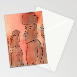 Moai statues watercolor Stationery Cards