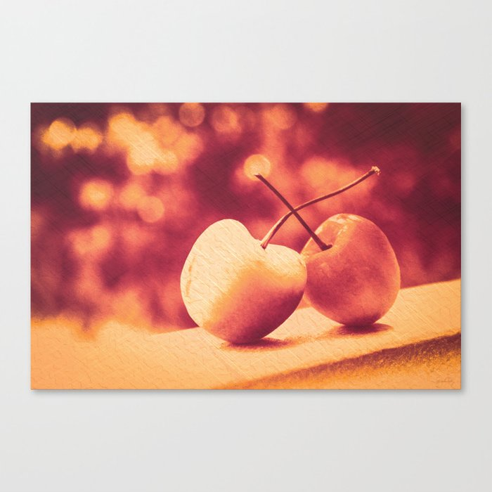 Sweet Moment (Rainier Cherries with Gold & Wine Red Bokeh Background) Canvas Print