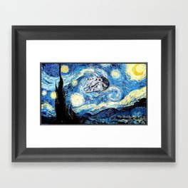 Falcon flies the Starry Night Framed Art Print
