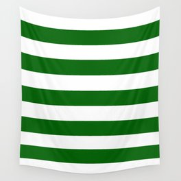 Emerald green - solid color - white stripes pattern Wall Tapestry