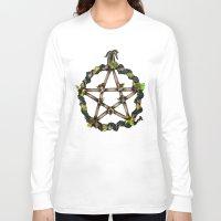 pentagram Long Sleeve T-shirts featuring PENTAGRAM GARLAND by Dianah B