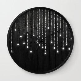 Fairy Lights on Wood 04 Wall Clock