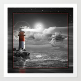 Lighthouse and Sailboat under moonlight Art Print