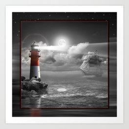 Lighthouse and Sailboat under moonlight Art Print