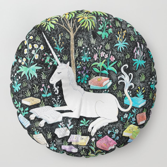 The Unicorn is Reading Floor Pillow