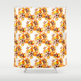 Watercolor Sparaxis Elegans South African Floral Pattern Shower Curtain