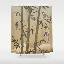 Sparrows And Bamboo Shower Curtain