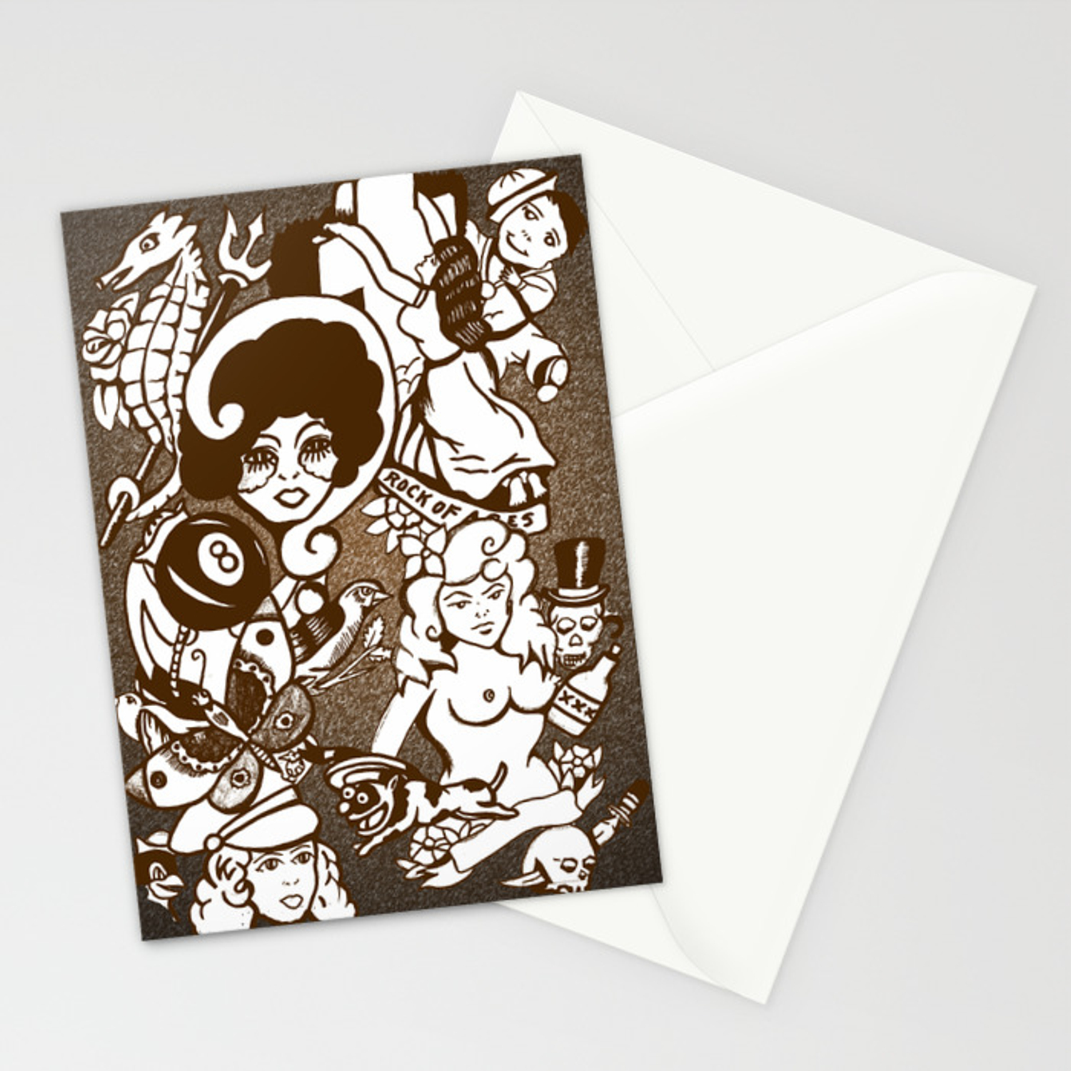 American Traditional Tattoo Collage Brown Stationery Cards By