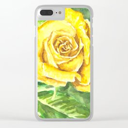 Yellow Rose Watercolor Painting Clear iPhone Case