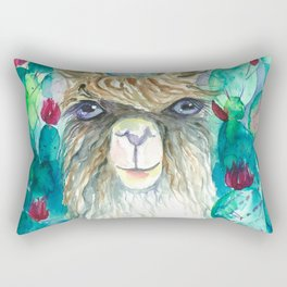 Llama in cacti Rectangular Pillow
