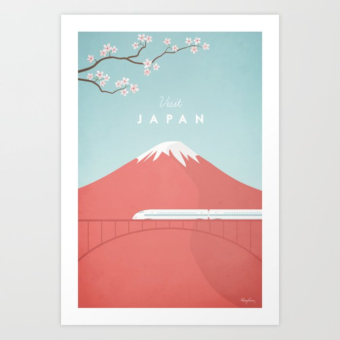 Vintage Japan Travel Poster Kunstdrucke