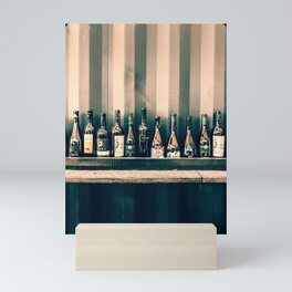 Grungy bar alcoholic drinks lineup on a wall Mini Art Print
