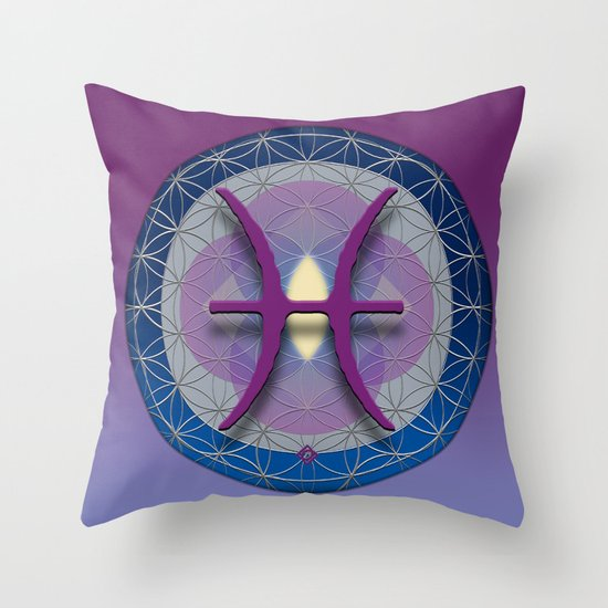 Flower of Life PISCES Astrology Design Throw Pillow