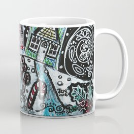 Christmas Snow Village on Black Coffee Mug