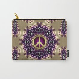 Bohemian Gold Peace Symbol Carry-All Pouch