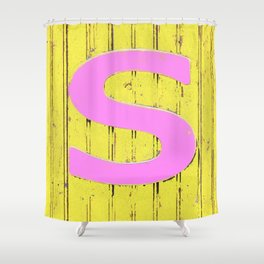 Letter s in pink and yellow Shower Curtain