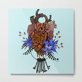 Key To My Heart - Orange Metal Print