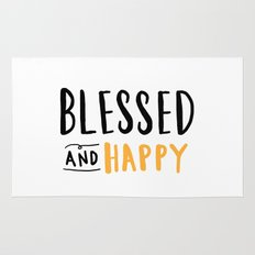 Blessed and happy 2 - hand lettered typography Rug
