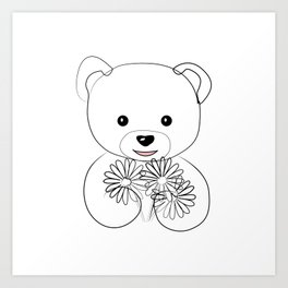 """ Mother's Day "" - Teddy Bear Holding Flowers Art Print"