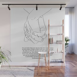 Ecclesiastes 4:9-12 A Cord of Three Strands Is Not Quickly Broken Line Art Sketch Wall Mural