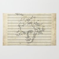 beethoven Area & Throw Rugs featuring Beethoven by bananabread
