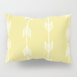 Running Arrows in White and Yellow Pillow Sham