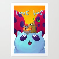 catbug Art Prints featuring Love Bug by nickwixon