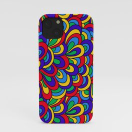 1960's Hippie Psychedelic Retro Pattern in Blue, Green, Yellow iPhone Case