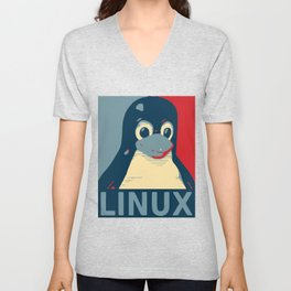 Linux tux Penguin poster head red blue  Unisex V-Neck