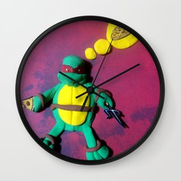 Red mask turtle Wall Clock