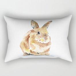 Bunny Rabbit Watercolor Painting - Woodland Animal Art Rectangular Pillow