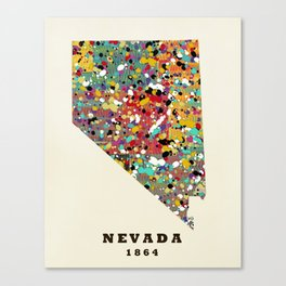Nevada state map modern Canvas Print