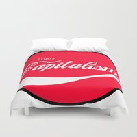 political Duvet Covers featuring Enjoy Capitalism - Funny Political Classic Cola Parody Spoof - Red Round Retro Money Loving Logo by Enjoy Everything