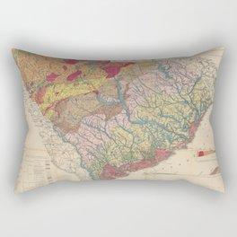 Vintage Geological Map of South Carolina (1883) Rectangular Pillow