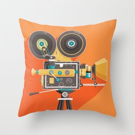Cine: Orange Throw Pillow
