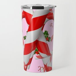 RED-WHITE PINK  CHRISTMAS CANDY CANES HOLLY BERRIES  ART Travel Mug