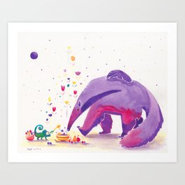 Giant Anteater Print, Anteater Art with Chameleon Art Print