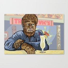 Wolfman drinking a pina colada at Trader Vics. Canvas Print