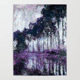 Monet : Poplars Violet Dark Blue Poster