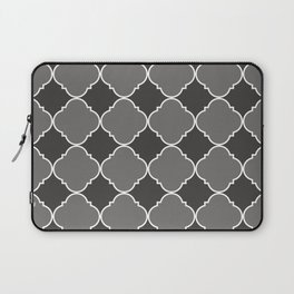 Pantone Pewter Ornamental Moroccan Tile Pattern with White Border Laptop Sleeve