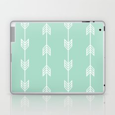 Running Arrows in White and Mint Laptop & iPad Skin