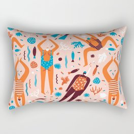 Swimmers in pink Rectangular Pillow