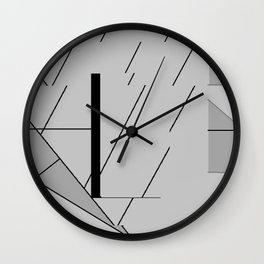 Grey Triangles Pattern Wall Clock